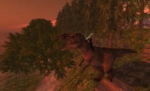 Gareth on a dinosaur